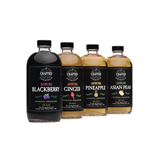 Crafted Cocktails Shrubs Variety 4 Pack all Four Flavors, Ginger...