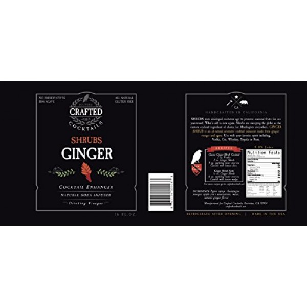 Crafted Cocktails Ginger Shrubs Cocktail Enhancer, Soda Flavorin...