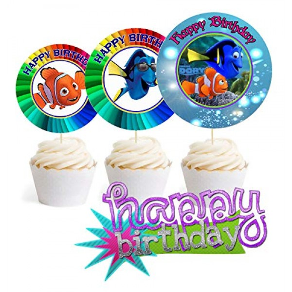 Crafting Mania LLC. 12 Happy Birthday Finding Dory Inspired Part...