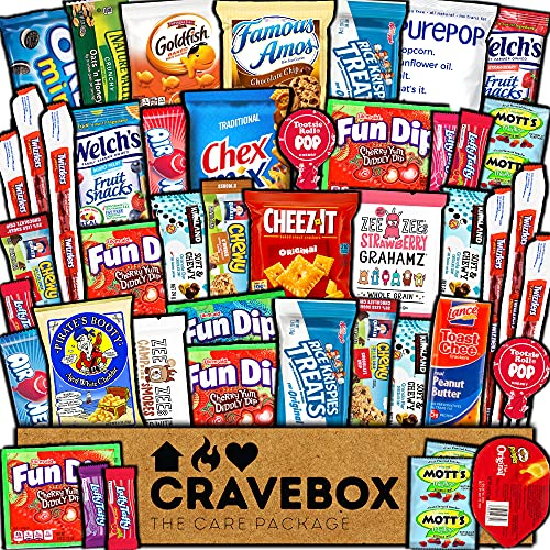 CraveBox - Care Package (40 Count) Snack Box - Variety Assortmen...