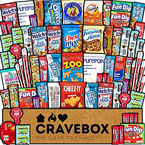 CraveBox - Deluxe Care Package Snack Box 60 Count - Gift Baske...