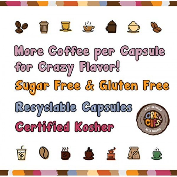 Crazy Cups Flavored Coffee Pods Variety Pack - Coffee Flavors fo...