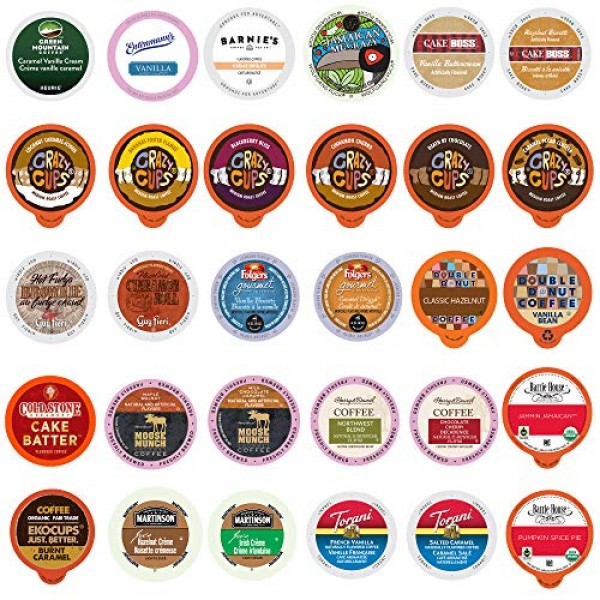 Flavored Coffee Pods Variety Pack - 30 Unique Flavors No Duplica...