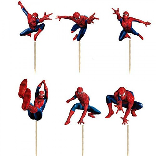 24PCS Spiderman Cupcake Toppers For Kids Birthday Party Cake Dec...