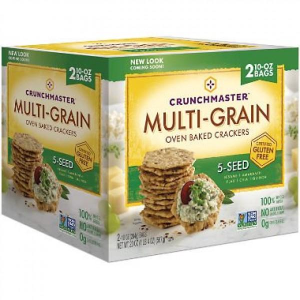 Crunchmaster Multi-Grain 5-Seed Crackers Gluten Free 20 oz Pack...