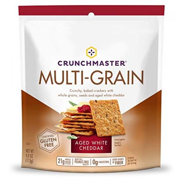 Crunchmaster Multi-Grain Crackers, Aged White Cheddar, 4 oz. Pa...