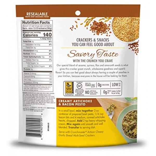 Crunchmaster Multi-Seed Crackers, Artisan Cheesy Garlic Bread, 4 Oz