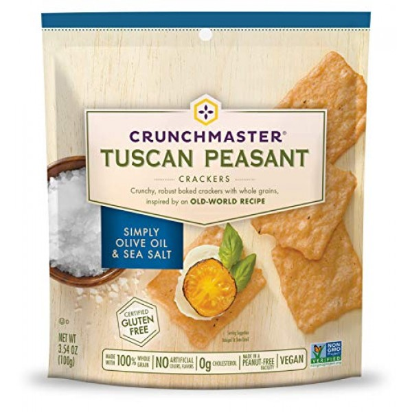 Crunchmaster Tuscan Peasant Crackers, Simply Olive Oil & Sea Salt