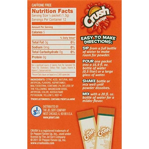 Crush Orange Sugar Free Singles To Go, 6 packets/box Pack of 6