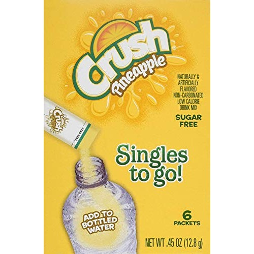 Crush Singles to Go Drink Mix, Pineapple, 6 Count Pack - 6