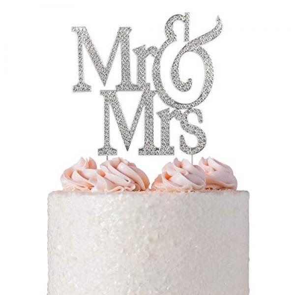 Mr and Mrs Cake Topper   Premium Crystal Bling Rhinestone Diamon...