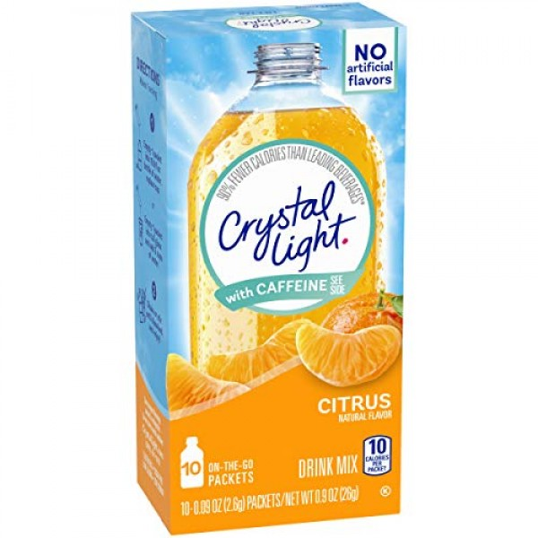 Crystal Light Citrus Energy Drink Mix with Caffeine 10 On-the-G...