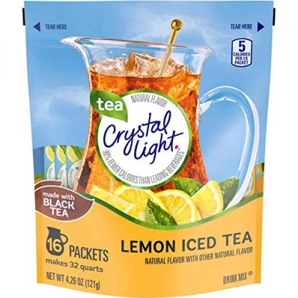 Crystal Light Natural Lemon Iced Tea 16 Pitcher Packs Makes 32 Q...