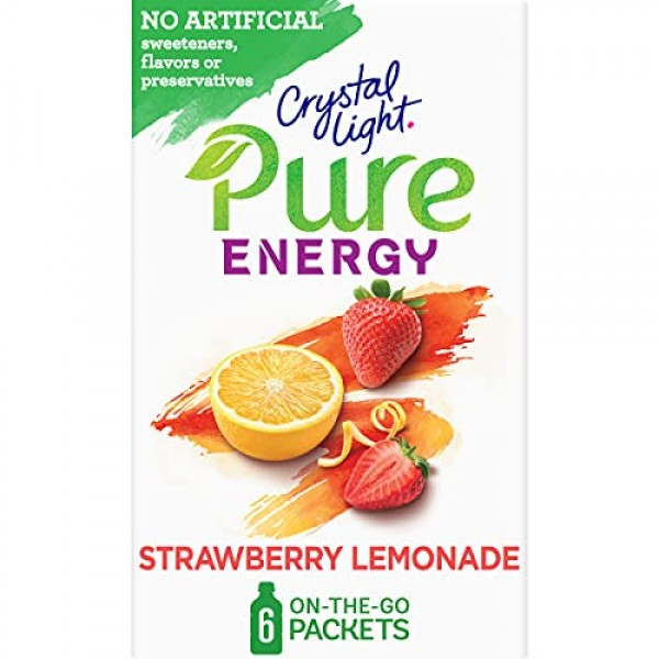 Crystal Light Pure Strawberry Lemonade Energy Drink Mix with Caf...