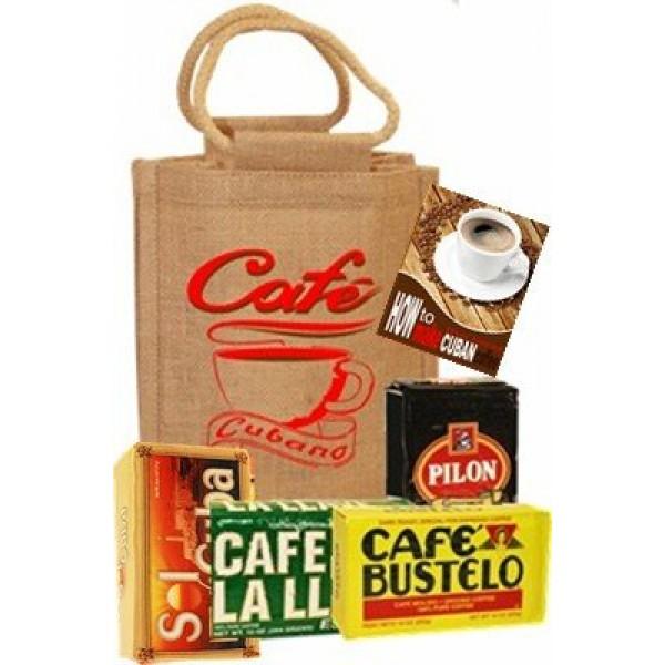 Cuban Style Coffee Sampler Bag. 4 coffee brands in a burlap bag.