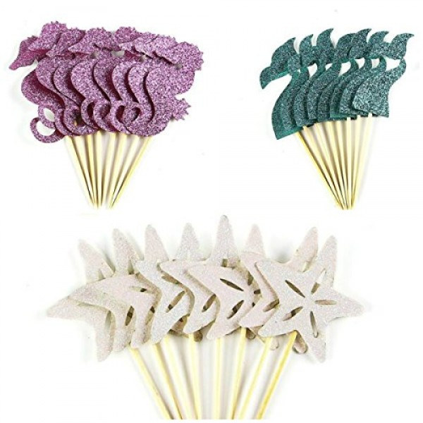 7-gost 24pcs Glitter Mermaid Tail Seahorse Starfish Cupcake Topp...