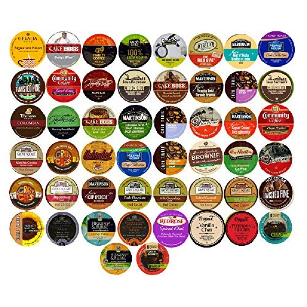 50 Cup Super Variety Sampler! Coffee...Tea...Cocoa...Decaf... 50...