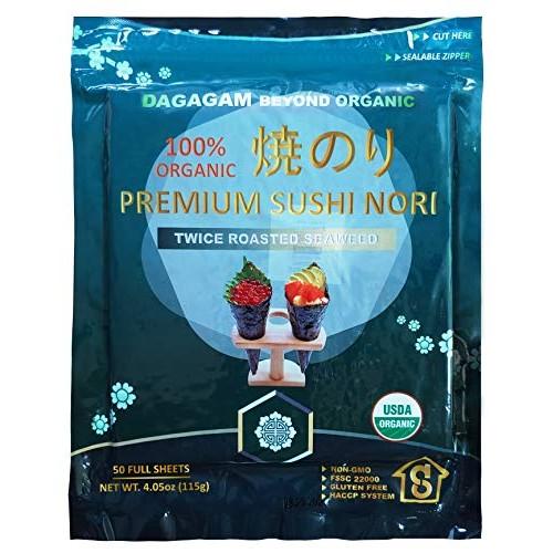 Dagagam Sushi Nori 4oz 50 Full Sheets : Premium Seaweed Sheets...