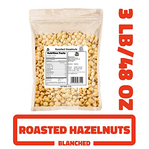 Blanched / Roasted Hazelnuts 3 LB |UNSALTED| FILBERTS | NO SKIN ...