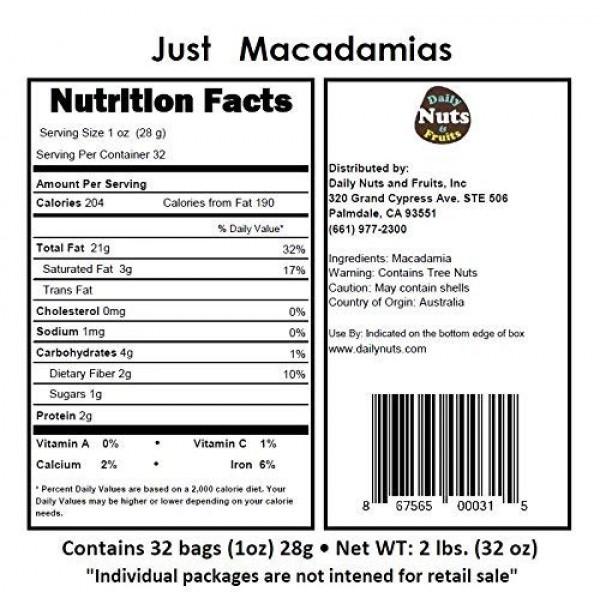 Just Macadamias Raw, 2 LB, 32 Packs 1oz, No Additives, Uns...