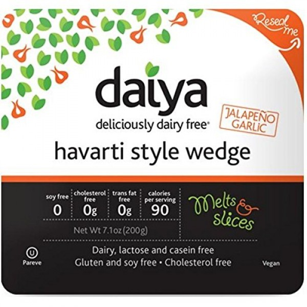 Daiya Jalapeno Garlic Havarti Style Cheese Wedge, 7.1 Ounce -- 8...