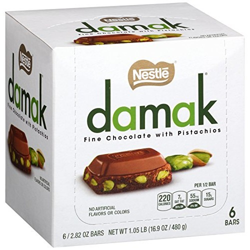Nestle Damak Fine Chocolate with Pistachios, 2.82 Ounce 6 Bars
