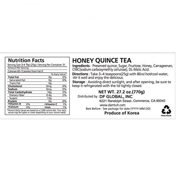 DAMTUH Honey Quince Tea, Homemade Style Quince Tea with Honey, 2...