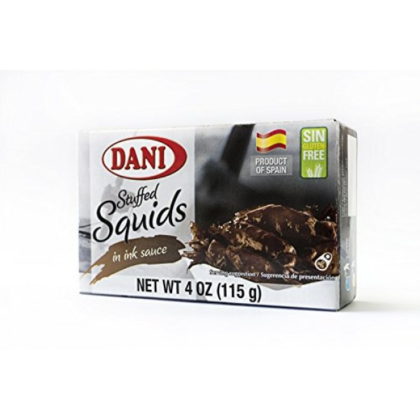 Dani Stuffed Whole Squid in Ink Calamares Canned 4 oz 110 g