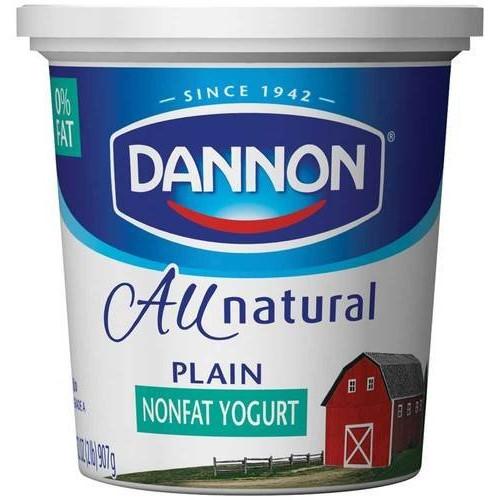 Dannon All Natural Quart Plain Nonfat Yogurt, 32 Ounce -- 6 per ...