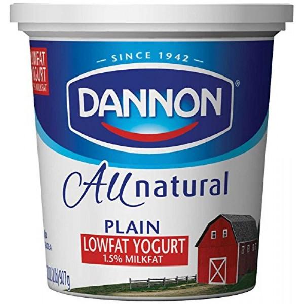 Dannon All Natural Quart Plain Lowfat Yogurt, 32 Ounce -- 6 per ...