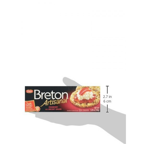Dare Breton Artisanal Crackers, Cranberry and Ancient Grains, 5....