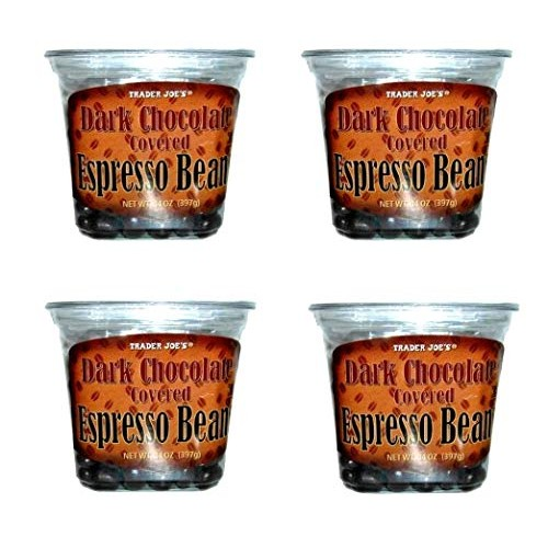 Trader Joes Dark Chocolate Covered Espresso Beans Bulk Pack of 4...
