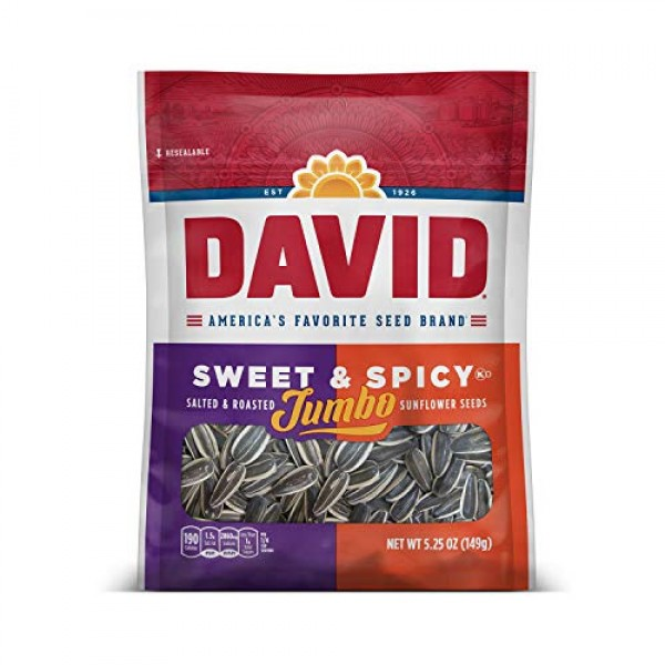 DAVID Roasted and Salted Sweet and Spicy Jumbo Sunflower Seeds, ...