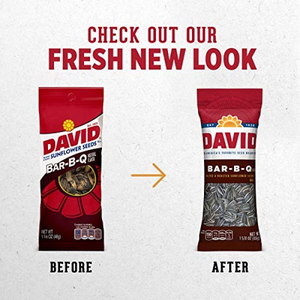 DAVID Roasted and Salted Bar-B-Q Sunflower Seeds, 1.625 oz, 12 Pack