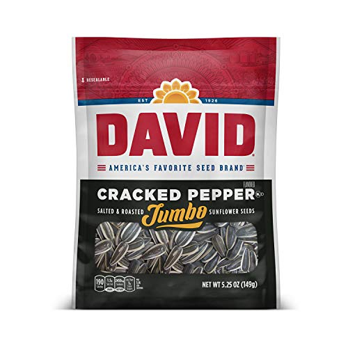 DAVID Roasted and Salted Cracked Pepper Jumbo Sunflower Seeds, K...