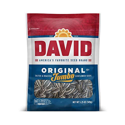 DAVID Roasted and Salted Original Jumbo Sunflower Seeds, Keto Fr...