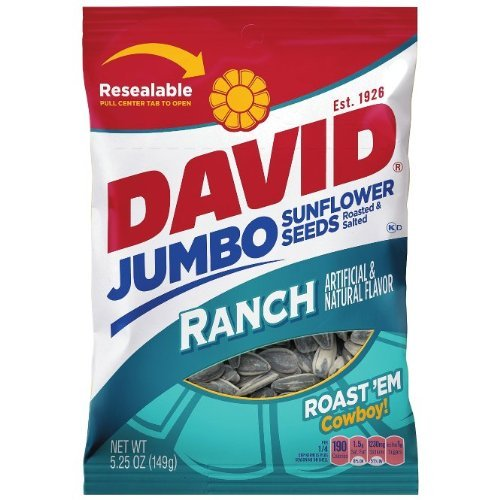 DAVID Roasted & Salted RANCH Flavored Sun Flower Seeds 3 Packs