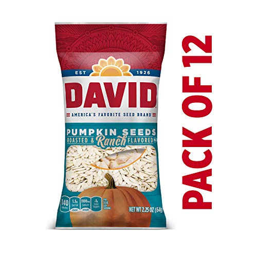 DAVID Roasted and Salted Ranch Pumpkin Seeds, Keto Friendly, 2.2...