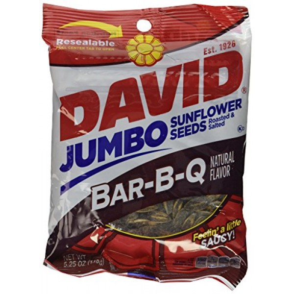 David BBQ Sunflower Seeds, 5.25 oz, 2 packs Roasted and Salted