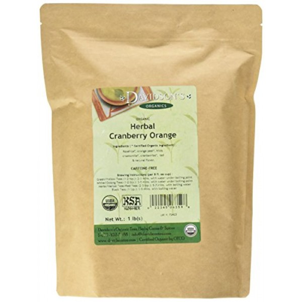 Davidsons Tea Bulk, Herbal Cranberry Orange, 16 Ounce