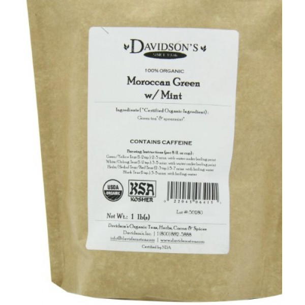 Davidsons Tea Bulk, Moroccan Green with Mint, 16 Ounce