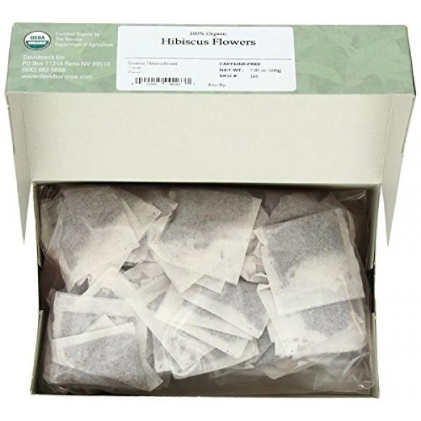 Davidsons Tea Hibiscus Flower, 100-Count Tea Bags