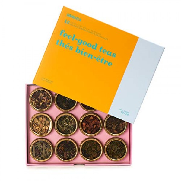 DAVIDsTEA Feel-Good Teas 12 Tea Sampler, Loose Leaf Tea Gift Set...
