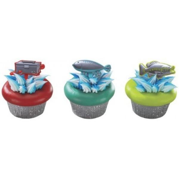 12 count - Fishing Fish Tackle Box Metallic Cupcake Picks