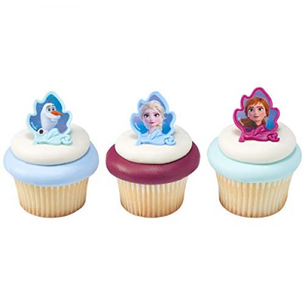 24 Frozen 2 II Elsa, Anna and Olaf Cupcake Rings Toppers