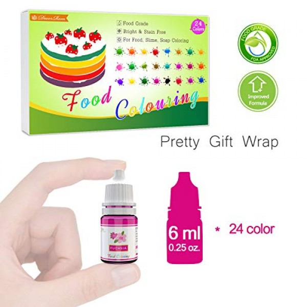 24 Color Food Coloring - Concentrated Liquid Cake Food Coloring ...