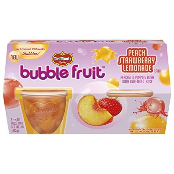Del Monte Bubble Fruit, Peach Strawberry Lemonade, 4-Ounce Cups,...