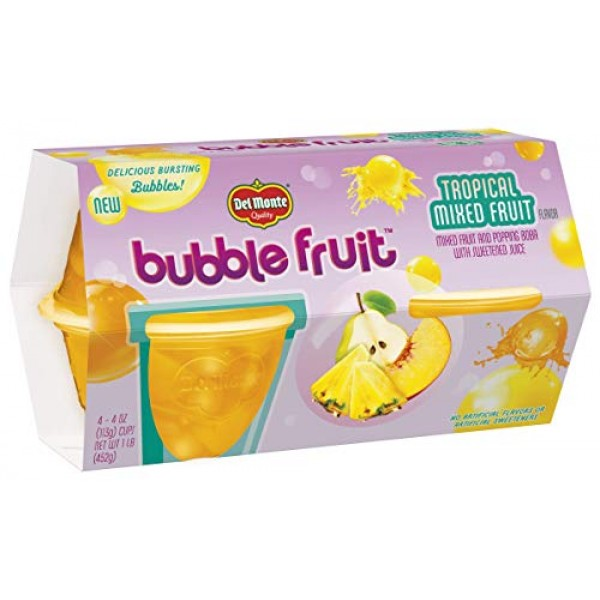 Del Monte Bubble Fruit Tropical Mixed Fruit Cup, Popping Boba, 4...