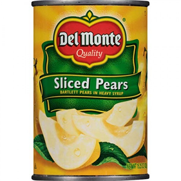 Del Monte Canned Bartlett Sliced Pears in Heavy Syrup, 15.25-Oun...