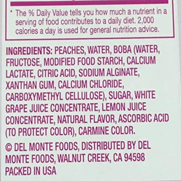 Del Monte Del Monte Bubble Fruit Peach And Popping Boba With Swe...